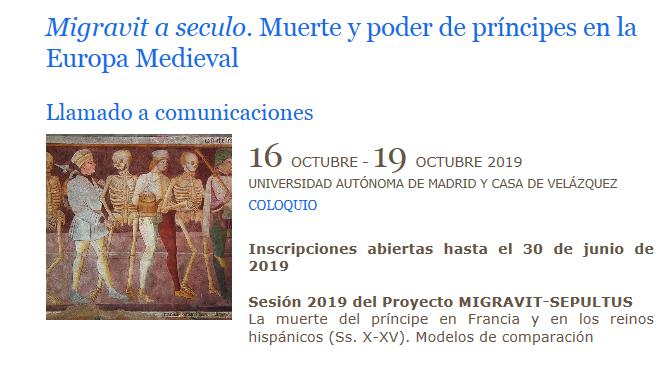 Migravit a seculo. Muerte y poder de príncipes en la Europa Medieval (Call for papers)